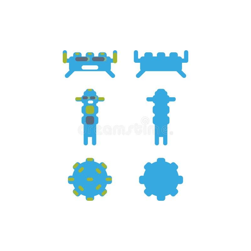 Caratteri del mostro per il gioco o i manifesti di app del gioco robot app immagini stock