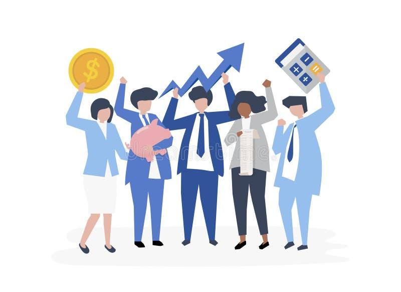 Caratteri dell'gente di affari ed icone di crescita di prestazione illustrazione vettoriale