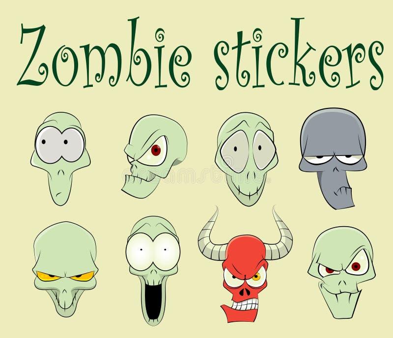 Caratteri dell'illustrazione divertente degli zombie illustrazione di stock