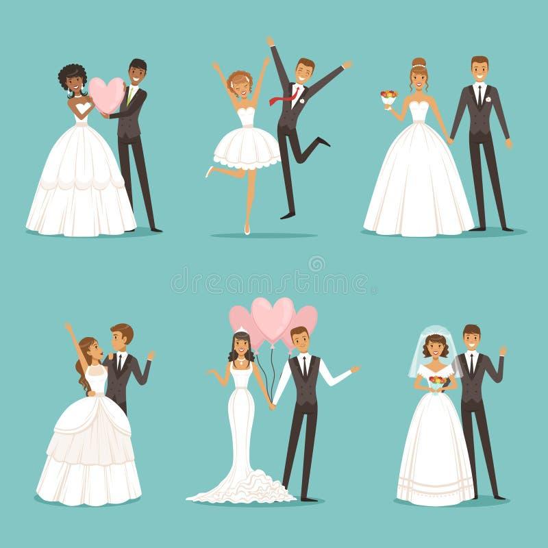 Caratteri della coppia sposata messi Progettazione della mascotte di nozze nello stile del fumetto Spose in bei vestiti royalty illustrazione gratis