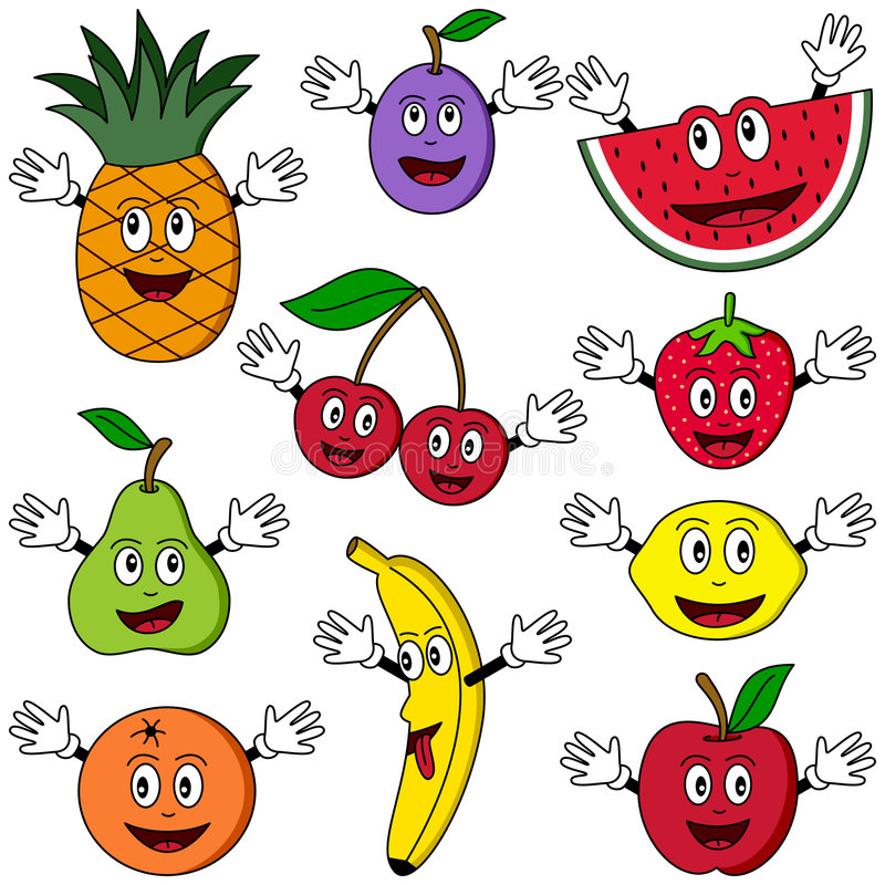 Caratteri della frutta del fumetto royalty illustrazione gratis