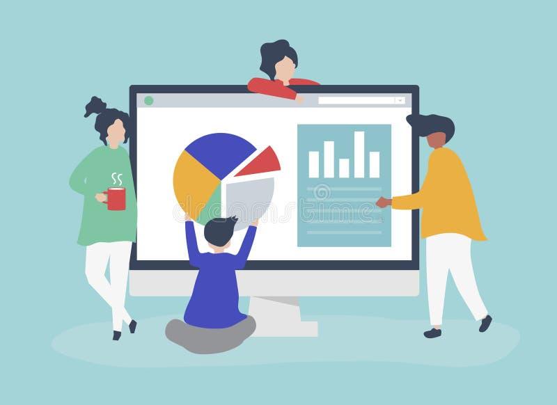 Caratteri della gente che analizza l'illustrazione dei diagrammi e dei grafici illustrazione di stock