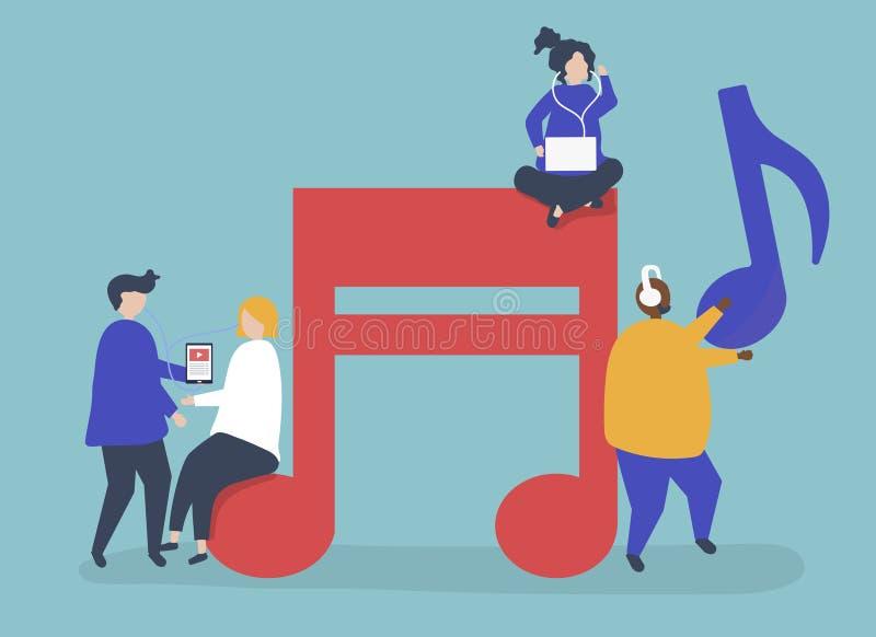 Caratteri della gente che ascolta l'illustrazione di musica illustrazione vettoriale