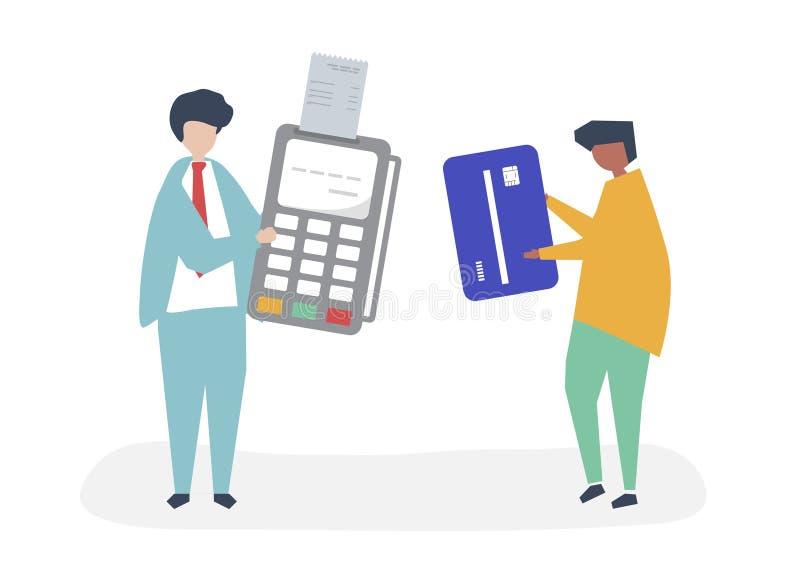 Caratteri della gente che fa un'illustrazione di transazione della carta di credito royalty illustrazione gratis