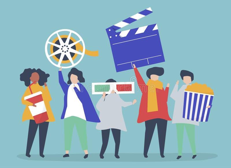 Caratteri della gente che tiene l'illustrazione delle icone di film illustrazione di stock