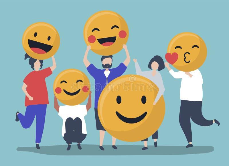 Caratteri della gente che tiene l'illustrazione positiva degli emoticon illustrazione vettoriale