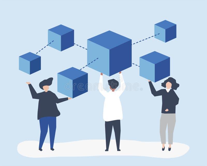 Caratteri della gente che tiene un'illustrazione della rete del blockchain royalty illustrazione gratis