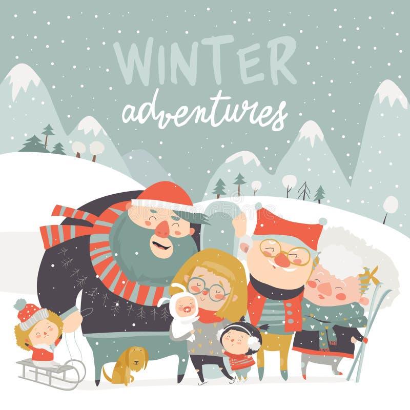 Caratteri della gente del fondo di stagione invernale Attività all'aperto di inverno La gente si diverte illustrazione vettoriale