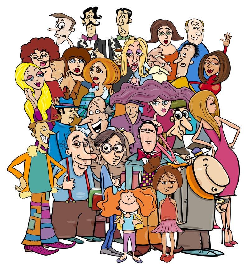 Caratteri della gente del fumetto nella folla royalty illustrazione gratis