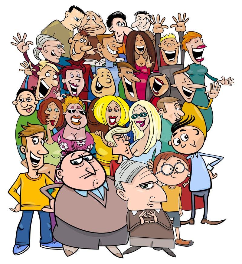 Caratteri della gente del fumetto nella folla illustrazione vettoriale
