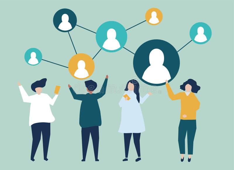 Caratteri della gente e della loro illustrazione della rete sociale illustrazione di stock