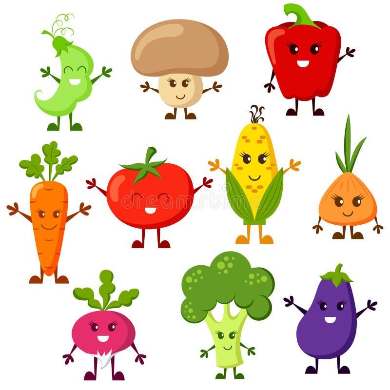 Caratteri della verdura del fumetto Pomodoro, broccoli, melanzana, peperoni, carote, cipolla, ravanello, cereale, piselli, fungo  illustrazione vettoriale
