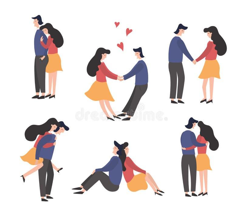 Caratteri delle donne e degli uomini nell'insieme di amore illustrazione di stock