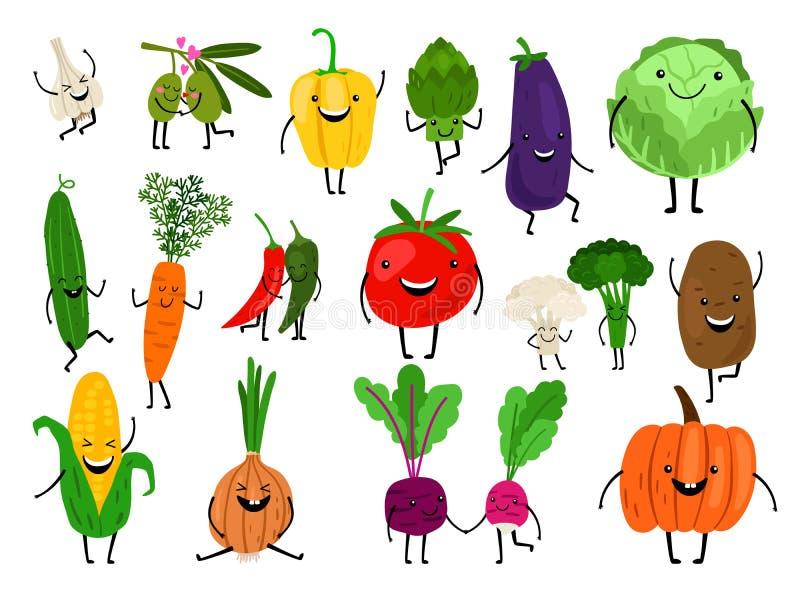 Caratteri delle verdure del fumetto illustrazione di stock