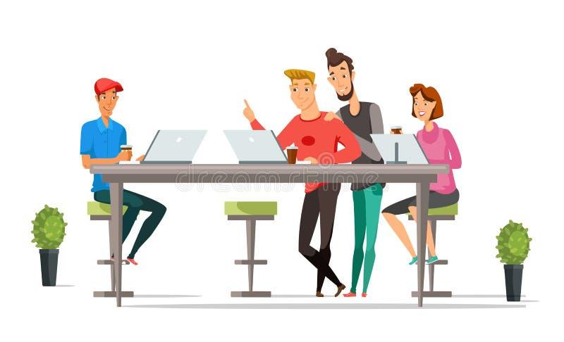 Caratteri di colore di vettore del fumetto degli impiegati di concetto illustrazione di stock