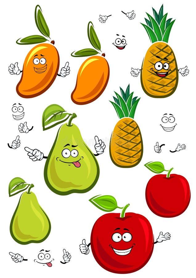 Caratteri di frutti di Apple, del mango, dell'ananas e della pera royalty illustrazione gratis