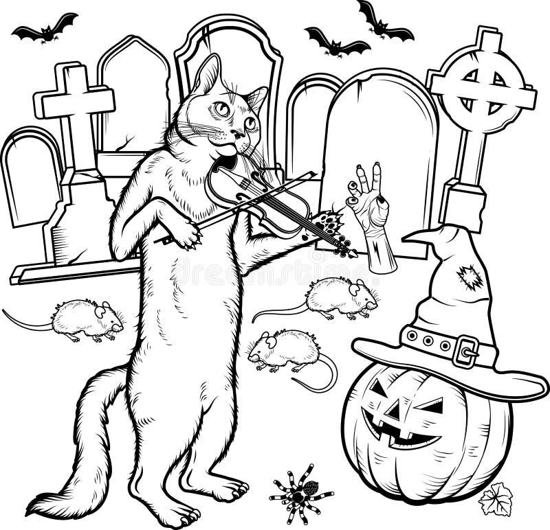 Caratteri di Halloween del libro da colorare Illustrazione di vettore royalty illustrazione gratis