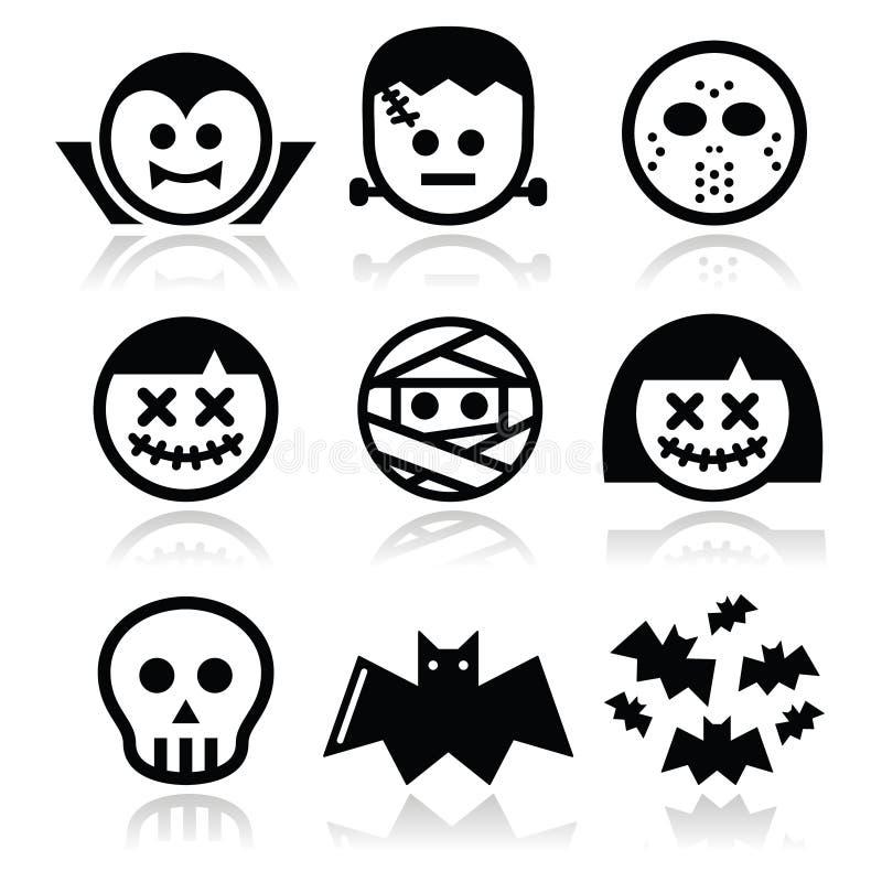 Caratteri di Halloween - Dracula, Frankenstein, icone della mummia royalty illustrazione gratis