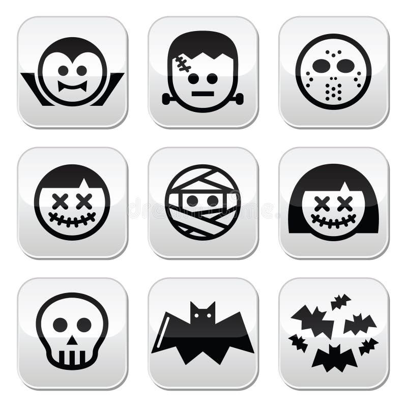 Caratteri di Halloween - Dracula, Frankenstein, mummia si abbottona illustrazione vettoriale