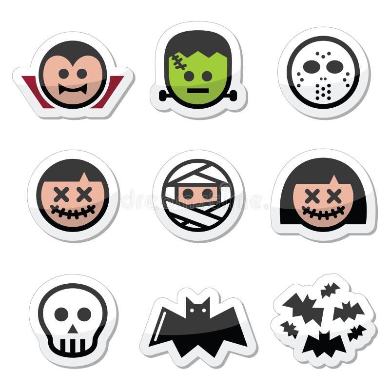 Caratteri di Halloween - Dracula, mostro, icone della mummia illustrazione di stock