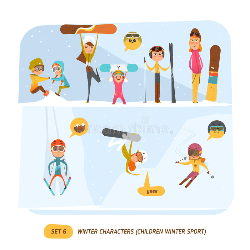 Caratteri di inverno messi sport illustrazione di stock