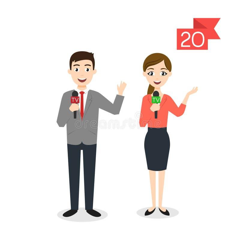 Caratteri di professione: uomo e donna Reporter o giornalista illustrazione vettoriale