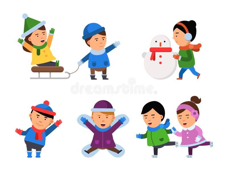 Caratteri di sorriso di inverno I bambini nevicano bambini della festa di Natale delle ragazze dei ragazzi dei vestiti che giocan illustrazione vettoriale