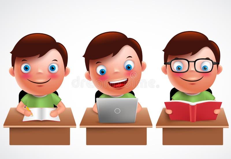 Caratteri di vettore del bambino del ragazzo messi Studio, lettura e passante in rassegna prescolari maschii dello studente illustrazione di stock