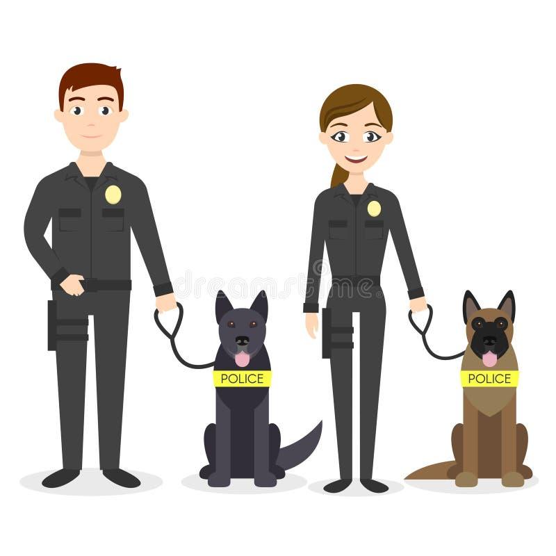 Caratteri di vettore: due giovani ufficiali di polizia uomo e donna illustrazione vettoriale