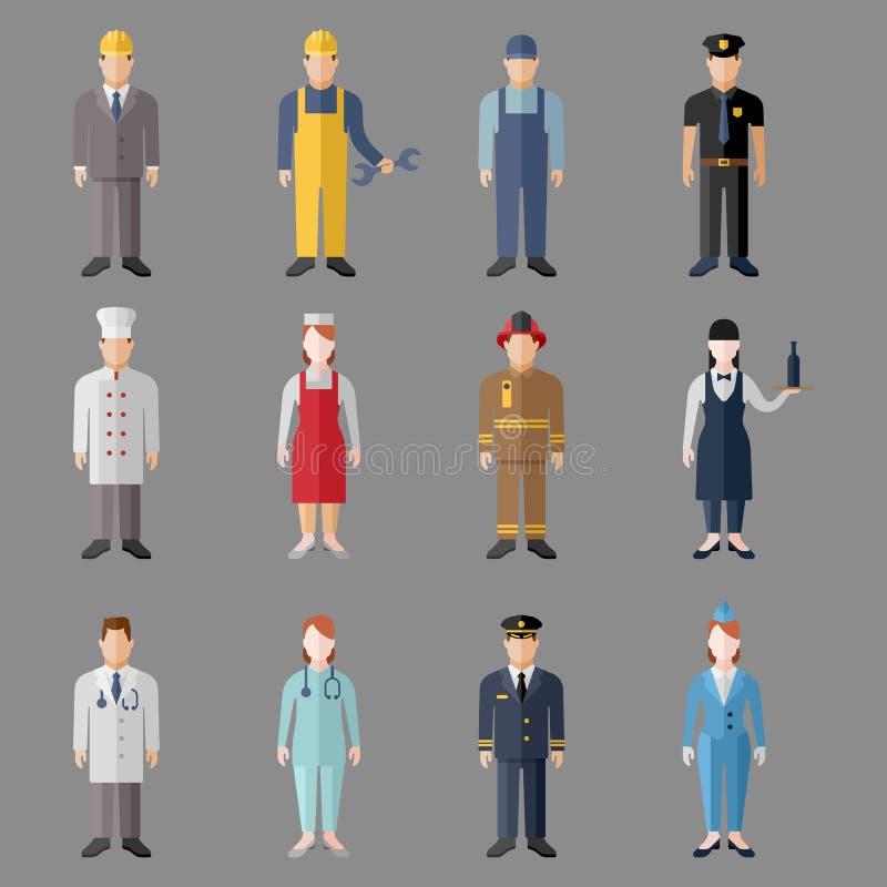 Caratteri differenti di professioni della gente messi illustrazione di stock