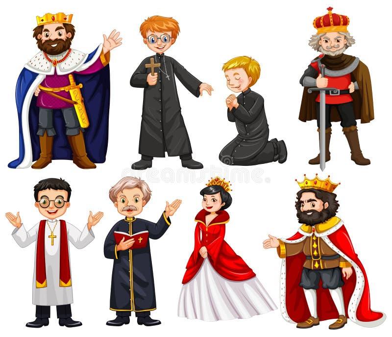 Caratteri differenti di re e del sacerdote illustrazione vettoriale