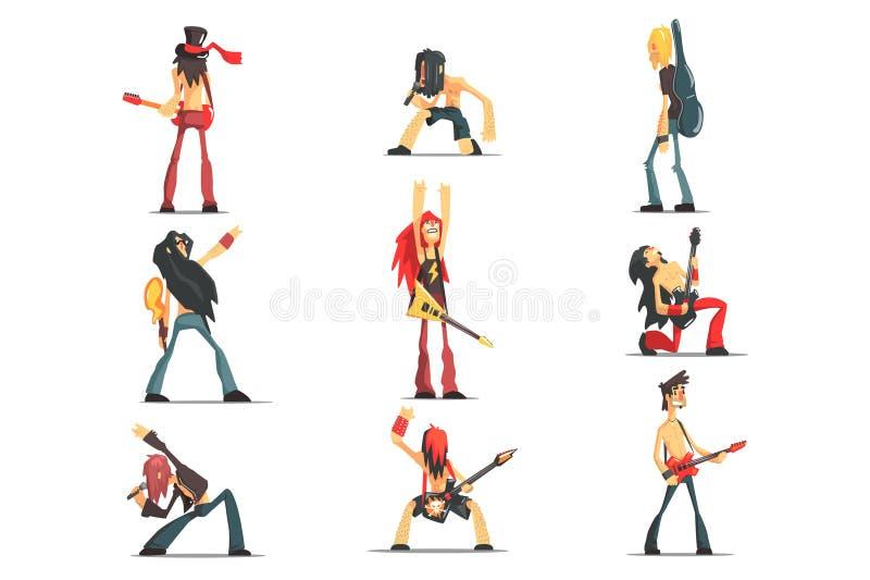 Caratteri divertenti dei membri di banda rock messi di stile geometrico fresco di progettazione grafica royalty illustrazione gratis