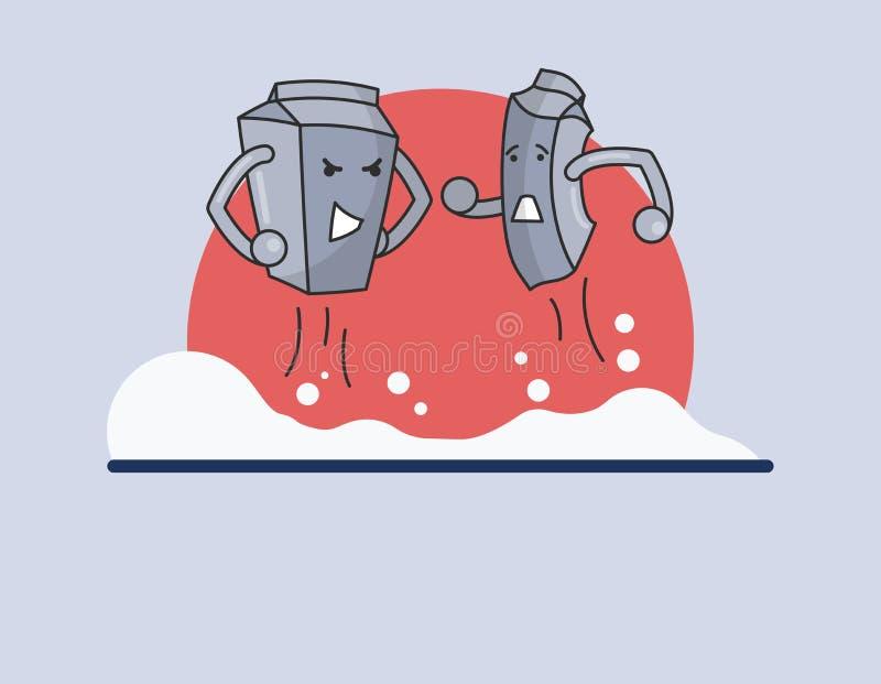 Caratteri divertenti del latte nel modo sveglio del cartone illustrazione di stock