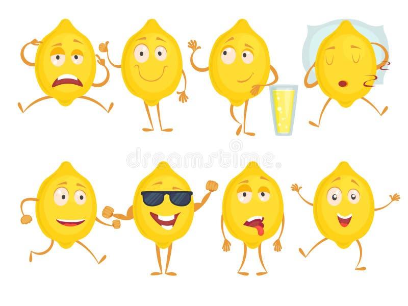 Caratteri divertenti del limone Sorpresa di gioia di tristezza di emozioni di frutta fresca e varie pose Limone di giallo della m illustrazione di stock