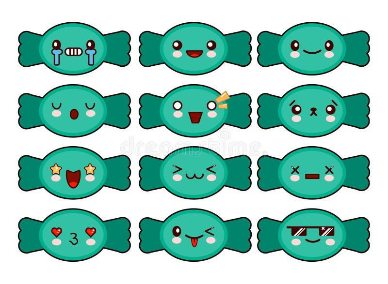 Caratteri divertenti della caramella del fumetto isolati su fondo bianco illustrazione di stock