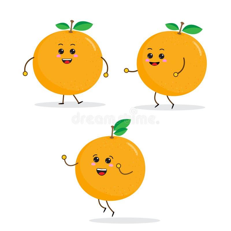 caratteri divertenti della frutta del fumetto, arancia illustrazione di stock
