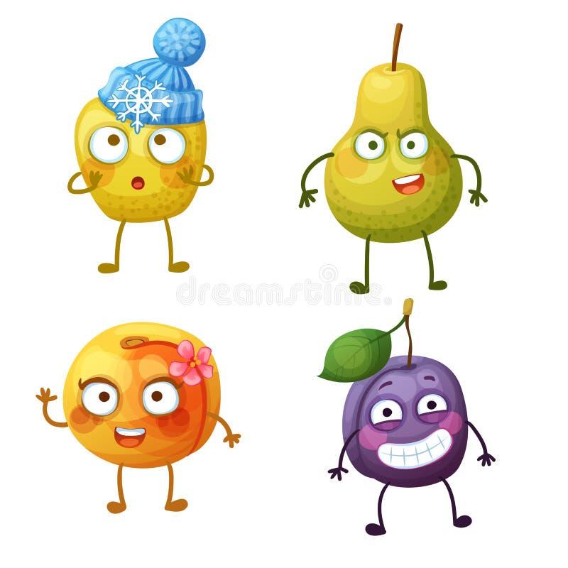 Caratteri divertenti della frutta isolati su fondo bianco Emoji allegro dell'alimento illustrazione di stock