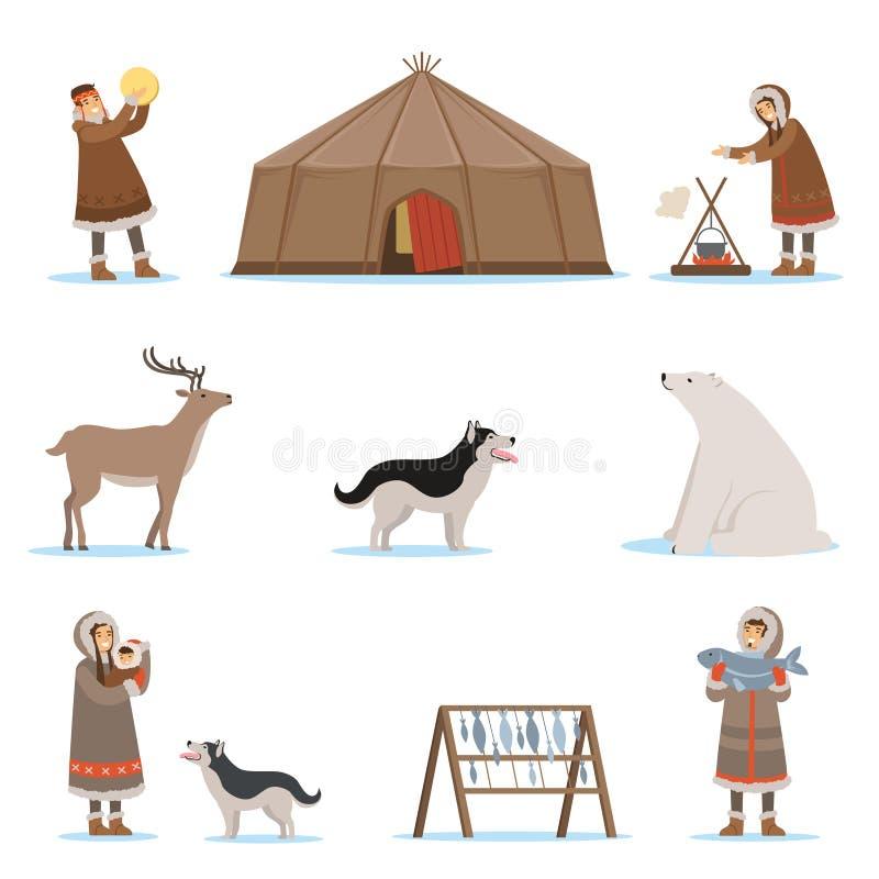 Caratteri eschimesi in abbigliamento tradizionale, animali artici, casa dell'iglù Vita nell'estremo Nord Insieme del fumetto vari illustrazione di stock