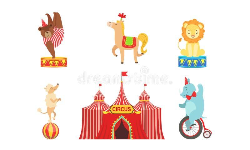 Caratteri Esperti Circo Set, Marquee, Circus Animals, Lion, Orso, Cavallo, Cane Poodle, Illustrazione Vettoriale Elefante illustrazione di stock