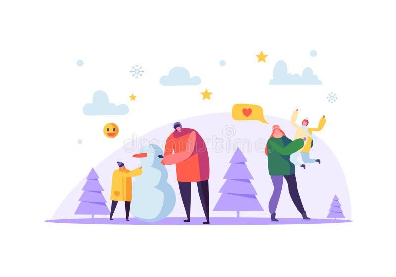 Caratteri felici della famiglia che fanno pupazzo di neve sulle vacanze invernali Madre allegra e padre con i bambini sulla stagi illustrazione vettoriale