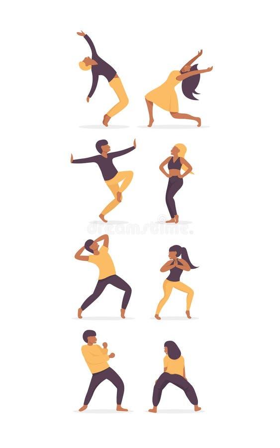 Caratteri felici delle coppie dei ballerini stabiliti illustrazione vettoriale