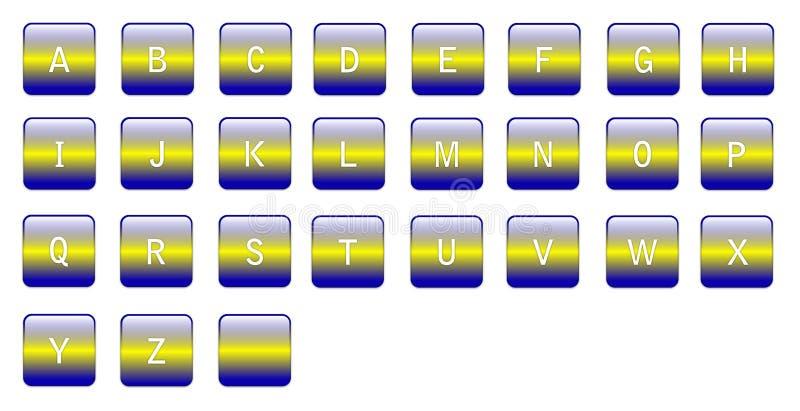 Caratteri gialli blu alfabetici royalty illustrazione gratis