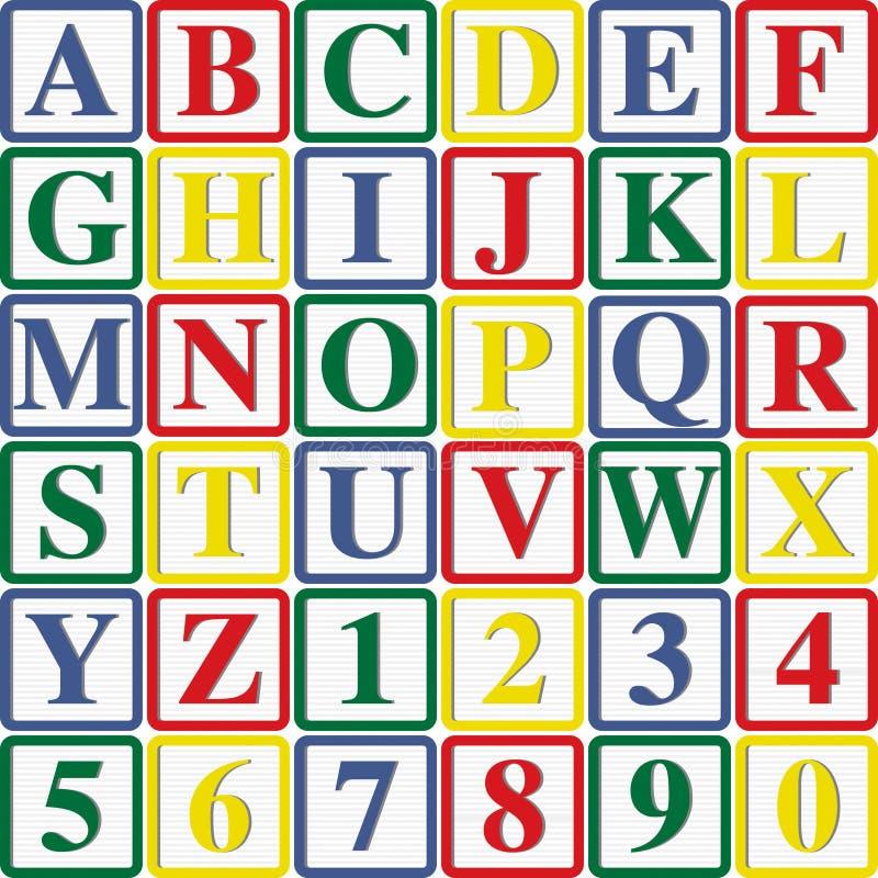Caratteri in grassetto e numeri del bambino illustrazione di stock