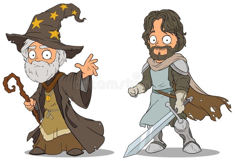 Caratteri medievali dello stregone e del cavaliere del fumetto messi illustrazione di stock