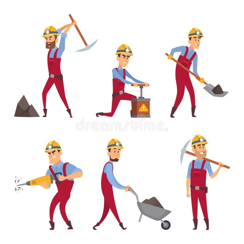 Caratteri messi dei minatori Personaggi dei cartoni animati illustrazione vettoriale