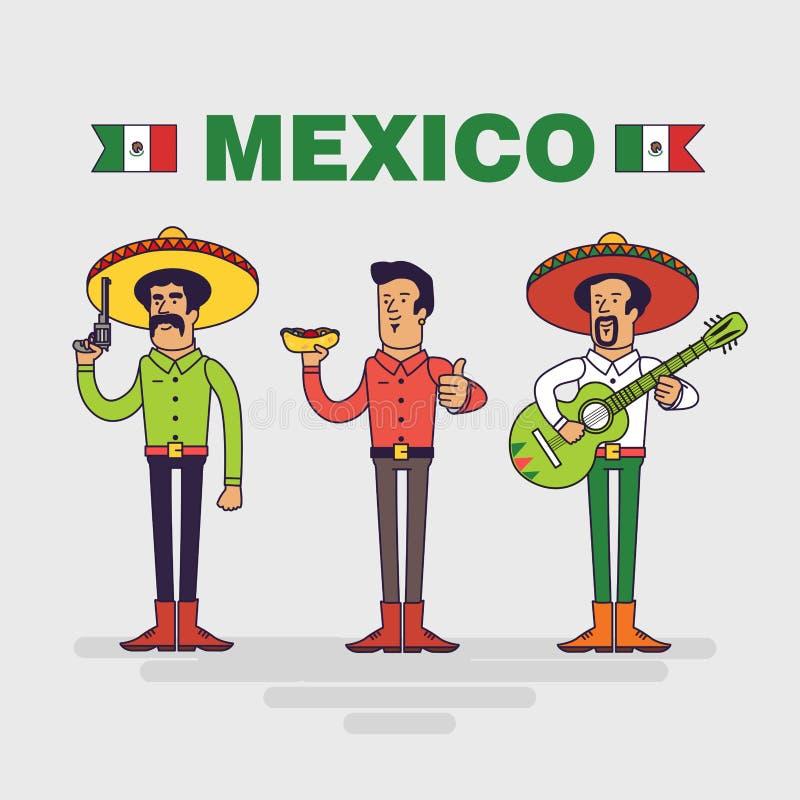 Caratteri messicani di vettore messi Bandito messicano, uomo con il burrito e cantante dei mariachi Progettazione piana lineare royalty illustrazione gratis
