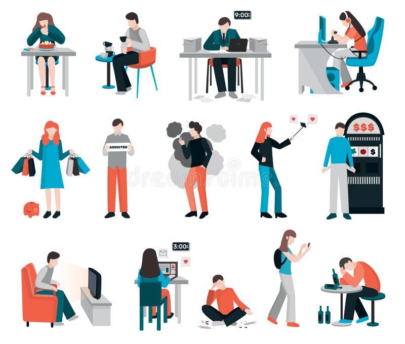 Caratteri ossessivi di abitudine messi royalty illustrazione gratis