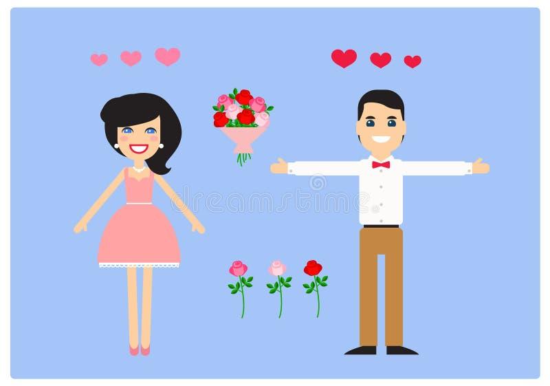 Caratteri per l'animazione amanti Vettore fotografia stock libera da diritti