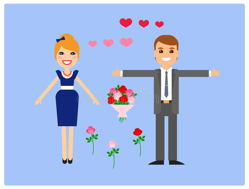 Caratteri per l'animazione amanti Vettore immagini stock