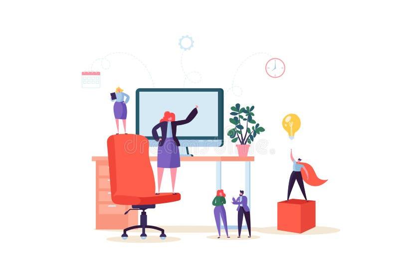 Caratteri piani della gente che lavorano nell'ufficio con il computer Posto di lavoro moderno dell'area di lavoro con lo scrittor illustrazione vettoriale